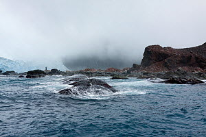 Elephant Island, with memorial at Point Wild to Captain Luis Pardo Villalon of Chilean ship, The Yelcho, which on 30 August 1916 rescued Shackleton's party left on Elephant Island, Antarctica, Souther...  -  Sue Flood