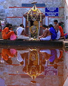 People worshipping gods at Talacauvery, the sacred birthplace of the River Cauvery, Western Ghats, Southern India. No release available.  -  Sandesh Kadur