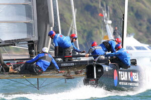 Action on board 'Team Korea' skippered by Chris Draper during the America's Cup World Series in Plymouth, England, September 2011. All non-editorial uses must be cleared individually. - Ingrid Abery