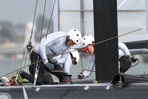 'Artemis' crew trimming gennaker during the America's Cup World Series in Plymouth, England, September 2011. All non-editorial uses must be cleared individually. - Ingrid Abery