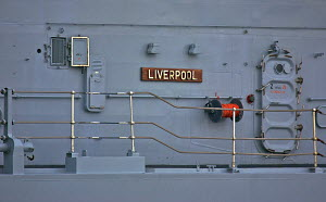 Name plate on board 'HMS Liverpool', River Mersey, England, February 2012. For editorial use only.  -  Graham Brazendale