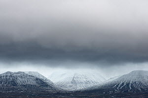 Rain clouds over Blonduhli�darfjoll, Iceland, January 2011  -  Orsolya Haarberg