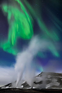 Steam vents with northern lights at night, Hverir, Namafjall, Iceland, February 2011 - Orsolya Haarberg