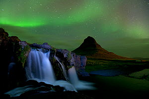 Small waterfall near Mount Kirkjufell with aurora borealis in the night sky, Snaefellsnes, Iceland, September 2010 - Erlend Haarberg