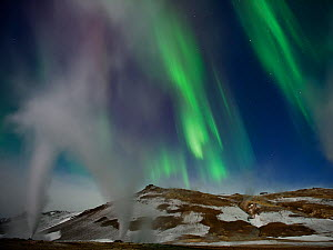 Steam vents at night with northern lights, Hverir, Namafjall, Iceland, February 2011 - Erlend Haarberg