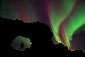 Person standing silhouetted in lava formation with northern lights above, Dimmuborgir, Myvatn, Iceland, March 2011  -  Erlend Haarberg