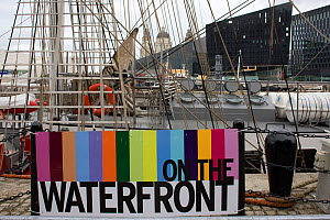 Sign for Liverpool river festival 'On The Waterfront'. Albert Dock, River Mersey, England, September 2011. All non-editorial uses must be cleared individually.  -  David Woodfall
