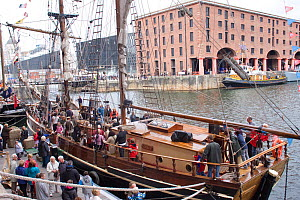 Tall ships event at Liverpool River Festival. Albert Dock, River Mersey, England, September 2011. All non-editorial uses must be cleared individually.  -  David Woodfall