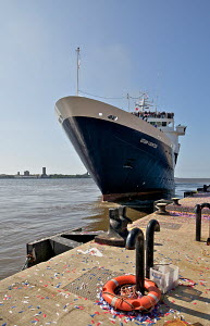 Cruise liner 'Ocean Countess', the first cruise ship to start and finish a cruise from the Liverpool waterfront for 40 years, seen here approaching the Liverpool Cruise Liner Terminal, River Mersey, E... - Graham Brazendale