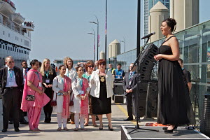Performance from opera singer Danielle Thomas prior to the departure of the 'Ocean Countess', making history as the first cruise ship to start and finish a cruise from the city for 40 years, seen here... - Graham Brazendale