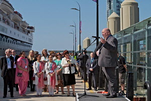 Speech from elected Mayor of Liverpool, Joe Anderson, prior to the departure of the 'Ocean Countess', making history as the first cruise ship to start and finish a cruise from the city for 40 years, s... - Graham Brazendale