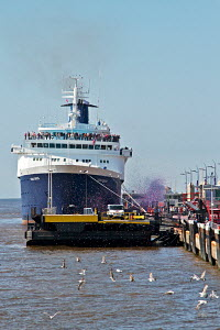 Confetti cannons firing alongside 'Ocean Countess', the first cruise ship to start and finish a cruise from the Liverpool waterfront for 40 years, seen here at the Liverpool Cruise Liner Terminal, Riv... - Norma Brazendale