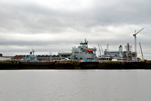 Royal Fleet Auxiliary ships in dry dock at Cammel Lairds Shipbuilders, Birkenhead, River Mersey, England, February 2012. All non-editorial uses must be cleared individually. - Norma Brazendale