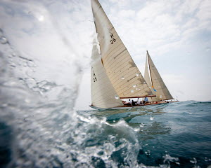 'Apache' and 'Irina VII' racing in the Panerai Classic Yacht Challenge: Voiles D'Antibes, France, May 2012. All non-editorial uses must be cleared individually. - Sea & See