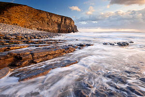 View of Nash Point cliffs in late evening light, Glamorgan Heritage Coast, near Bridgend, Wales, UK, December 2011.  -  Ross Hoddinott