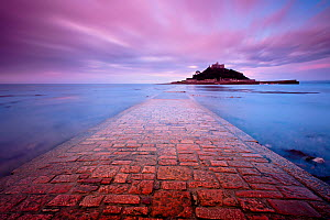 Scenic view of St Michaels Mount from the causeway, in early morning light, Marazion, West Cornwall, UK, September 2011. - Ross Hoddinott