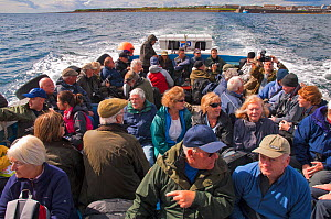Tourists on boat heading to the Farne Islands from Seahouses Harbour, Northumberland, England, UK, June. 2020VISION Book Plate.  -  Rob Jordan / 2020VISION