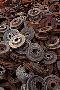 Large pile of old brake parts, Recycling center, Ithaca, New York, USA.  -  John Cancalosi