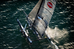 Aerial view of Decision 35 'Zen Too' during the Bol d'or Mirabaud as part of the Vulcain Trophy. Lake Geneva, Switzerland, June 2012. All non-editorial uses must be cleared individually.  -  Chris Schmid