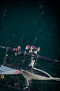 Aerial view of crew hiking-out on board Decision 35 'Artemis Racing' during the Bol d'or Mirabaud as part of the Vulcain Trophy. Lake Geneva, Switzerland, June 2012. All non-editorial uses must be cle... - Chris Schmid