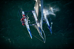 Aerial view of crew hiking-out on board Decision 35 'De Rham Sotheby's' during the Bol d'or Mirabaud as part of the Vulcain Trophy. Lake Geneva, Switzerland, June 2012. All non-editorial uses must be...  -  Chris Schmid