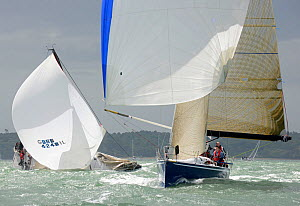 'Brevity' broaching behind 'Erivale III' during the RORC IRC Nationals on the Solent, Hampshire, England, June 2012.  -  Rick Tomlinson