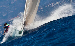 Yacht travelling at speed during the Giraglia Rolex Cup, Saint Tropez, France, June 2012. All non-editorial uses must be cleared individually. - Sea & See