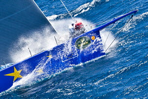 Sail work on board yacht on training day during the Giraglia Rolex Cup, Saint Tropez, France, June 2012. All non-editorial uses must be cleared individually.  -  Sea & See