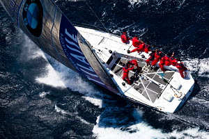 Aerial view of yacht in choppy conditions during the Giraglia Rolex Cup, Saint Tropez, France, June 2012. All non-editorial uses must be cleared individually.  -  Sea & See