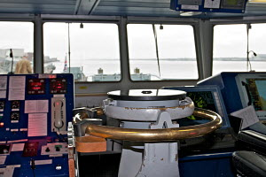 Compass on board patrol boat 'HMS Mersey', Liverpool, River Mersey, England, March 2012. All non-editorial uses must be cleared individually. - Graham Brazendale