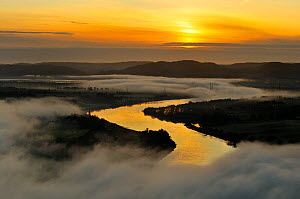 A misty morning view looking down the River Tay in autumn, Kinnoull Hill Woodland Park, Perthshire, Scotland, November 2011. - Fergus Gill / 2020VISION