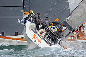 Yacht heeling while close racing in the 81st Round the Island Race, Isle of Wight, England, June 2012. All non-editorial uses must be cleared individually.  -  Rick Tomlinson