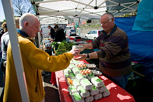 Organic eggs being sold in Oystermouth food market; selling fresh and specialist farm produce to the public. Part of Swansea City Council's commitment to Agenda 21, Swansea, April 2009. - David Woodfall
