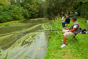 Young boys fishing in a pond, Grande-Synthe, Dunkirk, France, September 2010  -  Wild Wonders of Europe / Préau