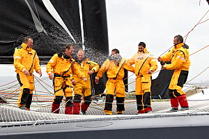 Skipper Yann Guichard and crew on board 'Spindrift Racing' celebrating arrival in Brest following transatlantic crossing from New York, during the Krys Ocean Race, France, July 2012. All non-editorial...  -  Benoit Stichelbaut