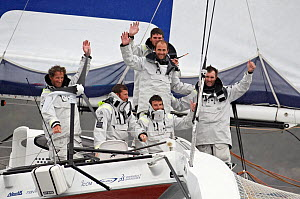 Skipper Michel Desjoyeaux and crew on board 'Foncia' celebrating arrival in Brest following transatlantic crossing from New York, during the Krys Ocean Race, France, July 2012. All non-editorial uses...  -  Benoit Stichelbaut