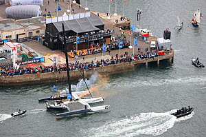 Spectators gathered to watch 'Spindrift Racing' arrive in Brest following transatlantic crossing from New York, during the Krys Ocean Race, France, July 2012. All non-editorial uses must be cleared in...  -  Benoit Stichelbaut