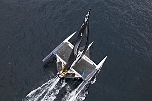 Aerial view of maxi-trimaran 'Spindrift Racing' arriving in Brest following transatlantic crossing from New York, during the Krys Ocean Race, France, July 2012. All non-editorial uses must be cleared...  -  Benoit Stichelbaut