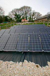 Solar panels in Down to Earth environmental project, way of creating sustainable energy, Murton, Gower, South Wales, UK 2009 - David Woodfall