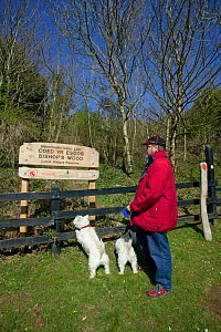 Visitor with dog looking at sign of Bishops Wood Local Nature Reserve, Murton, Swansea, Wales, UK 2009  -  David Woodfall