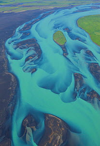 Aerial view of Olfusa river and estuary with blue water of melting glaciers, Southeast Iceland, July 2009 - Juan Carlos Munoz