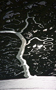 Aerial view of sun reflected on the Odiel marshes, Huelva, Andalucia, Spain, March 2008 - Juan Carlos Munoz