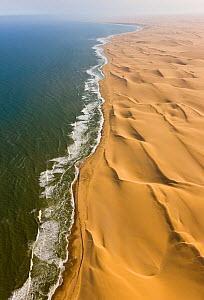 Aerial view of the 'Long Wall', sand dunes along the Atlantic coast of the Namib desert, Swakopmund, Namibia, August 2008  -  Juan Carlos Munoz