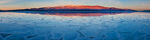 Crystalized salt formation across the Death Valley National Park valley floor with morning light on Badwater, the lowest point in the US at 86m below sea level with Telescope Peak in the Panamint Moun...  -  Jack Dykinga