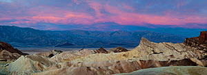 Zabriskie Point at dawn with the Panamint Mountains in background, Death Valley National Park, Mojave Desert, California, USA  -  Jack Dykinga