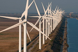 Aerial view of wind turbines of wind farm on the Camargue, Port Saint Louis du Rhone, Southern France, September 2008 - Jean E. Roche
