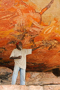 Aboriginal cave art being explained by guide Arnhemland, North West Territories, Australia, May 2009  -  Andy Rouse