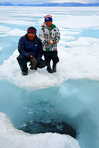 Inuit man showing his son the breathing hole of a Bearded seal (Erignathus barbatus) on the ice floe, Ellesmere Island, Nanavut, Canada, June 2012. Model released. - Eric Baccega