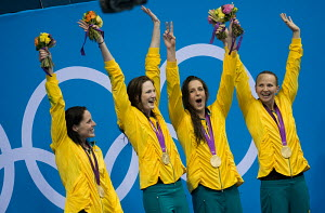 Medal ceremony for the Women's 4x100m Freestyle Relay (Australian team Alicia Coutts, Cate Campbell, Brittany Elmslie and Melanie Schlanger) at the London 2012 Olympic Games, England, July 2012. For e...  -  Chris Schmid
