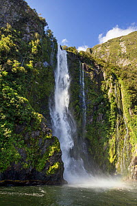 Stirling Falls dropping 146m into the sea, Milford Sound, Fiordland, South Island, New Zealand - Brent Stephenson